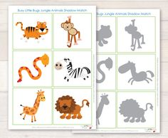 Free-Jungle-Animal-Shadow-Match-Busy-Little-Bugs.jpg animals silly animals animal mashups animal printables majestic animals animals and pets funny hilarious animal Animal Activities, Motor Activities, Infant Activities, Preschool Activities, Rainforest Animals, Jungle Animals, Preschool Jungle, Jungle Theme, Tot School