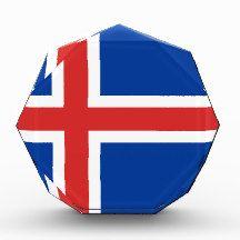 Flag of Iceland Award flag, nation, banner, award, gift, acrylic, octagon, country, zazzle, smallbiz, ecommerce, dww25921