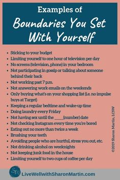 Setting Boundaries with Yourself: An Essential Form of Self-Care – Live Well with Sharon Martin Examples of Boundaries You Set With Yourself Sharon Martin, Personal Boundaries, Boundaries Quotes, Setting Boundaries, Self Care Activities, Communication Activities, Psychology Quotes, Psychology Careers, Color Psychology