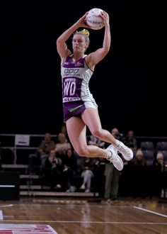 Gabi Simpson of the Firebirds leaps for the ball during the round 10 Super Netball match between the Magpies and the Firebirds at the Silverdome on April 2017 in Launceston, Australia. Star Wars, Netball, Sports Pictures, Cricket, Drill, Beautiful People, Running, Swans, Workout