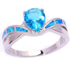 Blue Opal Ring With Aquamarine Stone