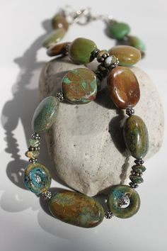 Natural Green Tibetan Turquoise Gemstone Silver by studiogracie