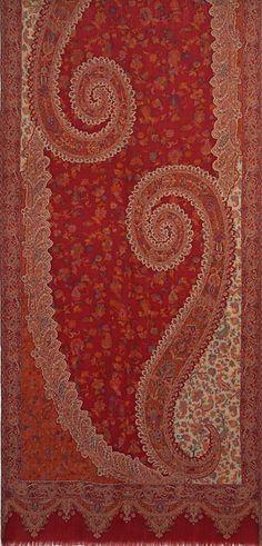 Red, Wool, Jamawar, Paisley Shawl. Kani Detail   Quality. Indian, Jamavar  Stole b21b9d0dec9