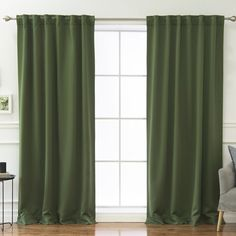 Beachcrest Home Sweetwater Blackout Solid Thermal Curtain Panels Curtain Color: Moss, Size per Panel: W x L Double Curtains, Cool Curtains, Colorful Curtains, Blackout Curtains, Curtain Panels, Green Bedroom Curtains, Classic Curtains, Modern Curtains