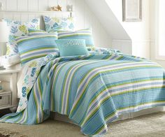 Brighten your bedroom with the laid-back, coastal style of the Levtex Home Cozumel Reversible Quilt Set. Featuring stripes in cool blues and greens and reversing to a colorful coral reef design, this set will turn your bedroom into a vacation paradise. Decor, Home, Beach House Decor, Coastal Decor, Bedding Sets, Bed, Coastal Bedrooms, Bed Bath And Beyond, Levtex