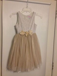 FREE SHIPPING Bloome De Jeune Girls Sz 8 Dress pagent formal gold sparkle lace #BloomeddeJeunefille #ChurchDressyHolidayPageantWedding