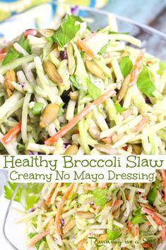 Broccoli Slaw Dressing, Broccoli Slaw Salad, Coleslaw Salad, Vegetable Dishes, Vegetable Recipes, Vegetarian Recipes, Healthy Recipes, Healthy Salads, Free Recipes