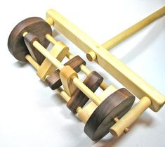Wooden Toy Lawn Mower, Handmade Wooden Toy Mower, Push Toy Lawn Mower, Lawn Mower Toy for Children and Toddlers Eco Friendly All Natural - Children's Toys and Play Ideas - Woodworking Toys, Woodworking Projects, Push Toys, Handmade Wooden Toys, Stacking Toys, Blue Wood, Kids Wood, Diy Toys, Children's Toys
