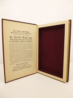 Hollow book safe stash box by AdventureBoundBooks on Etsy. Made from the 1913 edition of The Royal Road to Health. Dark crimson wool felt lined with magnetic closure.