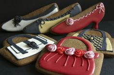 Stylishly lovely purse and shoes cookies. Shoe Cookies, Mother's Day Cookies, Fancy Cookies, Cut Out Cookies, Iced Cookies, Cupcake Cookies, Sugar Cookies, Biscotti, Iced Biscuits
