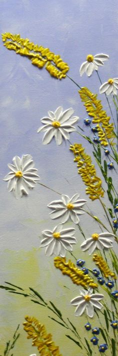 Your place to buy and sell all things handmade Daisy Painting, Texture Art, Custom Boxes, Acrylic Art, Decorating Your Home, Landscape Paintings, Wild Flowers, Poppies, Original Paintings