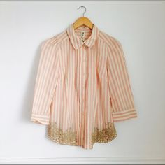 Anthropologie Floreat blouse Scalloped Stripes Blouse by Floreat A curvy hem and flowery embroidery add unexpected sweetness to Floreat's crisply lined top.   Button closure  Cotton  Size 6  Excellent used condition Anthropologie Tops Blouses