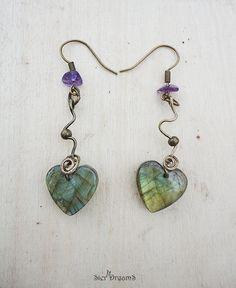 Valentine Heart Earrings Labradorite Heart with by SierDreamS