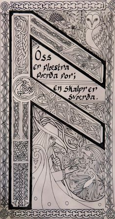Ansuz Illumination by EjLowell on DeviantArt Norse Pagan, Viking Symbols, Viking Art, Viking Runes, Ancient Symbols, Mayan Symbols, Egyptian Symbols, Rune Tattoo, Norse Tattoo