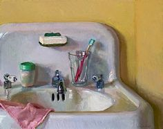 Bathroom Sink by Lea Wight Oil ~ 14 x 18 Lea Colie Wight was born in Philadelphia, Pa in She earned a BFA from The Minneapolis College of Art and Design in Still Life Drawing, Still Life Art, Sink Drawing, A Level Art, Bathroom Art, Art Sketchbook, Contemporary Paintings, Painting Inspiration, Cool Art