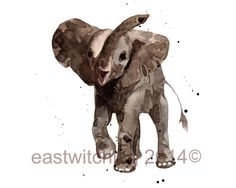 ELEPHANT Print 5x7 SMALL  elephant art by eastwitching on Etsy