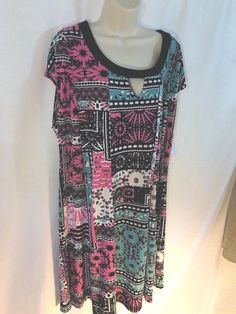 NY Collection Womens Sheath Dress $70 Plus Sz 3X Keyhole Patchwork Stretch    eBay