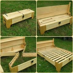 Plans of Woodworking Diy Projects - How To Make a DIY Bench That Folds Into A Bed (Perfect Space and Money Saving Solution) Get A Lifetime Of Project Ideas & Inspiration! Pallet Furniture, Furniture Projects, Home Projects, Furniture Design, Folding Furniture, Garden Furniture, Rustic Furniture, Outdoor Furniture, Modern Furniture