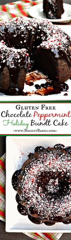 Bring cheer all year, especially for Christmas, with this heavenly decadent Gluten Free Chocolate Peppermint Bundt Cake. A moist peppermint flavored chocolate cake covered in a chocolate peppermint ganache will surely make Santa jealous.