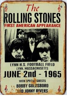 The Rolling Stones first American appearance concert poster. The Rolling Stones, Tour Posters, Band Posters, Rock N Roll, Bobby Goldsboro, Concert Rock, Mundo Musical, Vintage Concert Posters, Mick Jagger