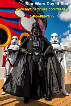 Darth Vader at Disney Cruise Day at Sea. In 2016, Disney Cruise Line Guests can celebrate the legendary adventures and iconic characters from the Star Wars saga during a brand-new, day-long celebration aboard eight special sailings on the Disney Fantasy: Star Wars Day at Sea.