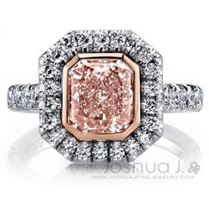 Joshua J offers this incredible stunner of a ring, featuring a 2.21ct GIA-certified VLP SI1 radiant cut diamond held by 18k rose gold bezel and surrounded by an octagonal halo of round diamonds, while more of those sparkle along the shank and underwire, altogether 54 colorless round diamonds of 1.47ct. tw. in platinum mounting. www.diamonds.pro