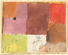 """Paul Klee 'Composition with Figures' 1915 Pen and ink and watercolor on paper mounted on card stock 4 x 5"""""""