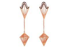 Assya London's Long Arrow earrings feature white diamonds set in black rhodium, contrasted with rose gold vermeil.