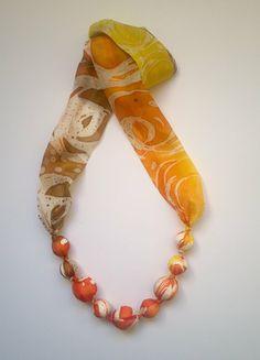 Yellow necklace Hot wax batik beads Silk necklace hand painted Silk jewelry Silk beads