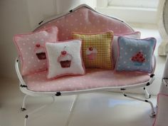 Cutest Miniature Shabby Pink Settee With Cupcake Pillows