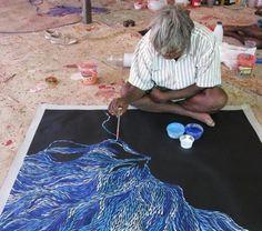 Aboriginal Artist, Jeannie Petyarre, Bush Leaves - Utopia Central Australia hard at work