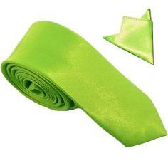 Cravate slim verte + pochette