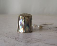 Vintage Mother of Pearl Thimble Iridescent Silver Thimble Sewing Room Thimble Collector by cynthiasattic on Etsy