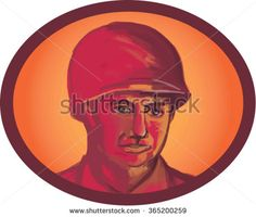Illustration of a World War two American soldier serviceman head facing front set inside oval shape on isolated background.  - stock vector #soldier #retro #illustration
