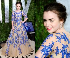 Monique Lhuillier - Old school glamour dress with modern twist - pop of bluebell blue is the perfect colour for Lily Collins.
