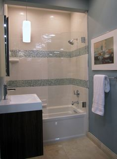 A Simplistic Bathroom With Great Design Ceramic And Glass Tile Thetileshop