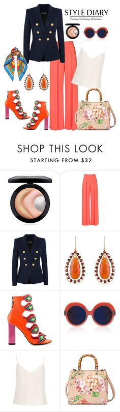 """Style Diary"" by chrisger ❤ liked on Polyvore featuring MAC Cosmetics, Nicole Miller, Balmain, Arya Esha, Kat Maconie, Cutler and Gross, Raey, Gucci and Dolce&Gabbana"