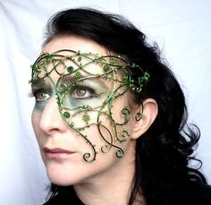 Handmade green half mask - perfect for a summer wedding or handfasting :) - Ivy