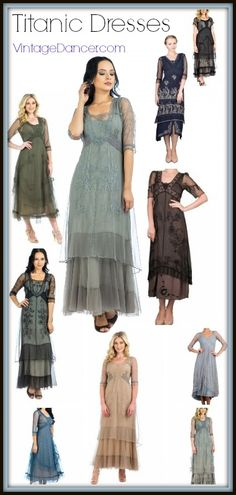 Shop these beautiful new Titanic style dresses and costumes. New, reproduction, and custom made dresses and outfits inspired by Rose in the Titanic movie.