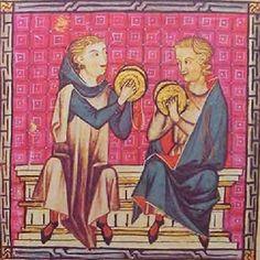 CÍMBALOS (Cantiga 190) Los címbalos son los antepasados de los actuales platillos de la orquesta. En esta ilustración de la cantiga 190 se puede apreciar el detalle del cordón que une la pareja.