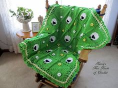 """This is so cute, loving the green for the pasture <3 This pattern offering is free, and will be posted right here. You can print it out or copy paste for your reference Squares = 6-1/4"""" Blanket ..."""