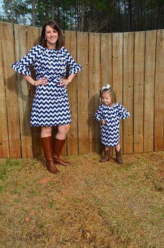 Mother Daughter Navy Chevron Set/Womens Chevron Dress on Etsy, $88.00