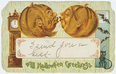 Dos calabazas de Halloween besándose