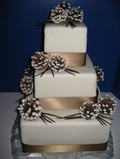 - 3 tiered cake covered in MFF. real pinecones, piped with RI and dusted with sanding sugar to resemble snow. Chocolate pine needles and brown ribbon complete the look. Inspiration from Martha Stewarts wedding cake book