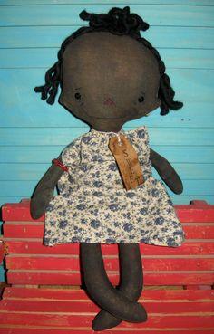Primitive SWEET Black Raggedy Ann Doll by tagalongstreasures, $25.00
