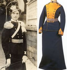 The uniforms worn by Olga, Tatiana, and Maria who were all honourary heads of their own regiments. Anastasia was made head of one as well, but the outbreak of the war interfered with her receiving her. La Familia Romanov, Tatiana Romanov, Anastasia Romanov, Romanov Sisters, Grand Duchess Olga, Court Dresses, Tsar Nicholas Ii, Imperial Russia, Military Fashion