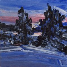 """WINTER SUNRISE"" Original (3x3 inches) Original Oil Landscape by US Artist Kevin #Impressionism"