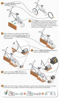 Soluciones solares: Sistema con bicicleta para cargar baterias