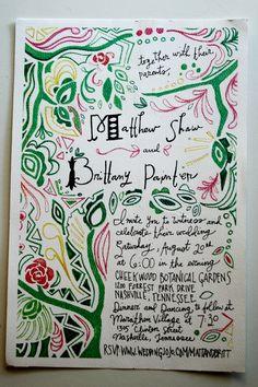 Kristen's hand-drawn wedding invites for a friend. Absolutely gorgeous.
