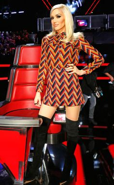 Chevron on Chevron from Gwen Stefani's The Voice Looks  In Gucci.